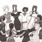 black-and-white graphic of women in a circle