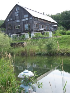 barn from small pond