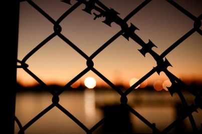 razor wire sunset