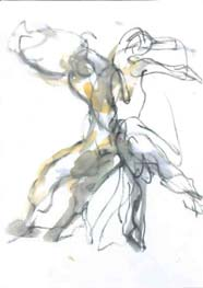 sketch of figures dancing
