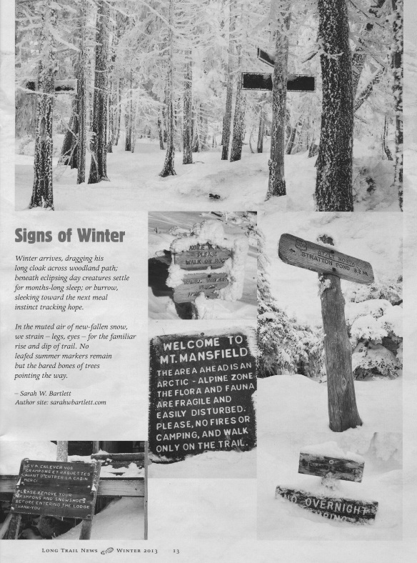 collage of b/w winter trail signs