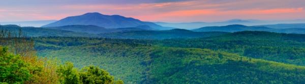 panorama of mountain sunrise