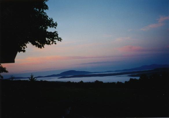 sunset w mist